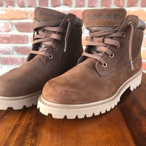 Chocolate brown men's timberlands boots